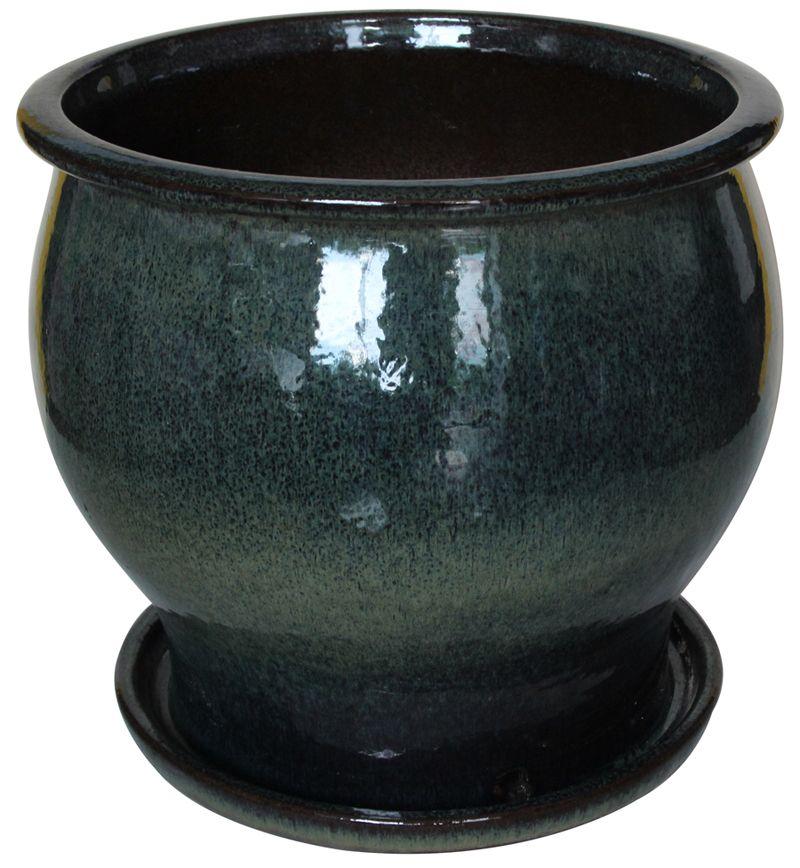 Pot studio massif - Couleur verte de 35.56 cm