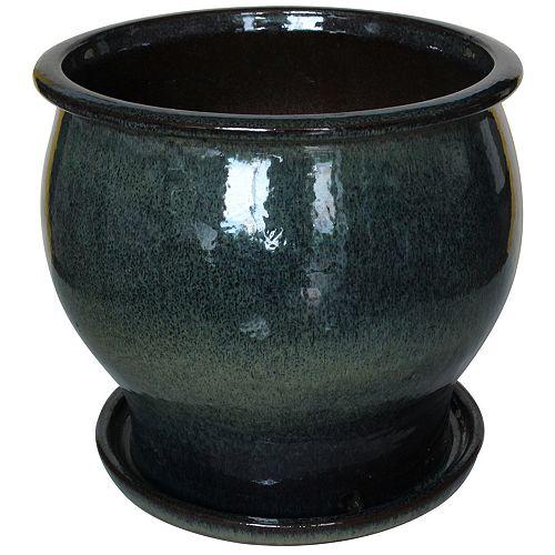 Trendspot 14 inch Shaped Ceramic Planter , Green