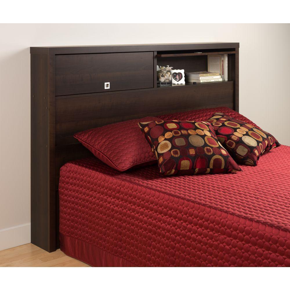 Dossier de lit à deux portes de la Série Décor 9 pour lit double ou grand lit, expresso