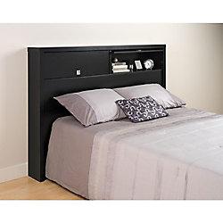 Prepac Dossier de lit à deux portes de la Série Décor 9 pour lit double ou grand lit, noire