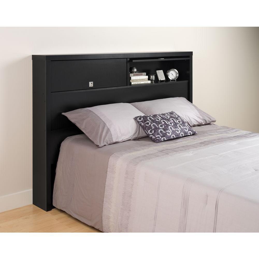 Dossier de lit à deux portes de la Série Décor 9 pour lit double ou grand lit, noire
