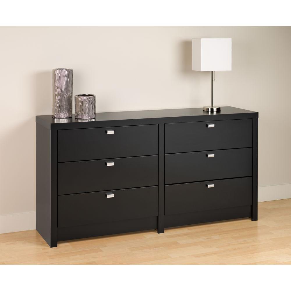 Black Designer Series 9  6 Drawer Dresser