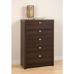 Prepac Designer Series 9 30.25-inch x 45-inch x 16-inch 5-Drawer Chest in Espresso