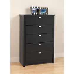 Prepac Designer Series 9 30.25-inch x 45-inch x 16-inch 5-Drawer Dresser in Black