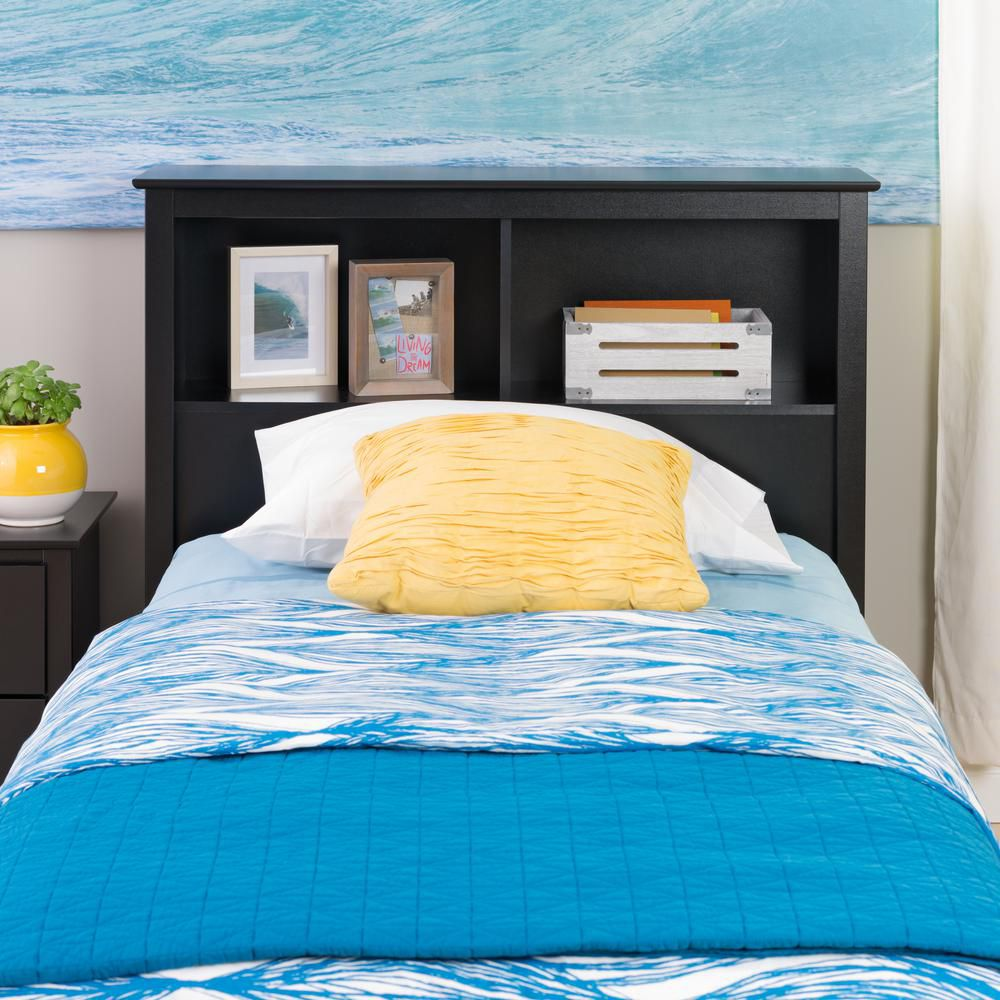 Prepac Black Twin Bookcase Headboard