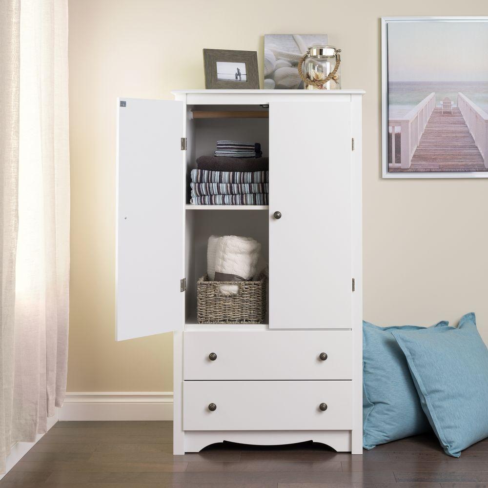 Prepac armoire monterey deux portes blanche home for Armoire deux portes