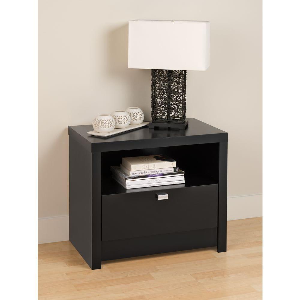 Black Designer Series 9 - 1 Drawer Nightstand