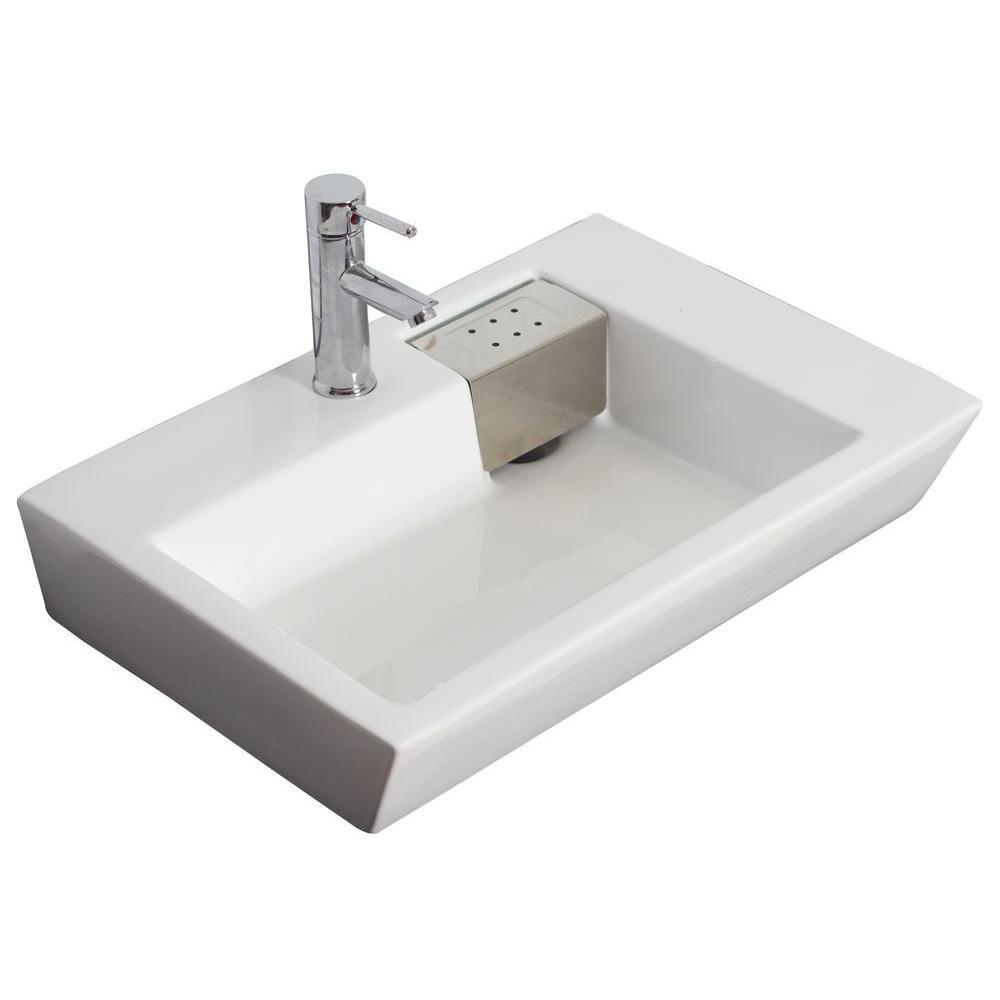 Vasque en céramique blanche, rectangulaire, installation sur Comptoir, avec orifice unique de rob...