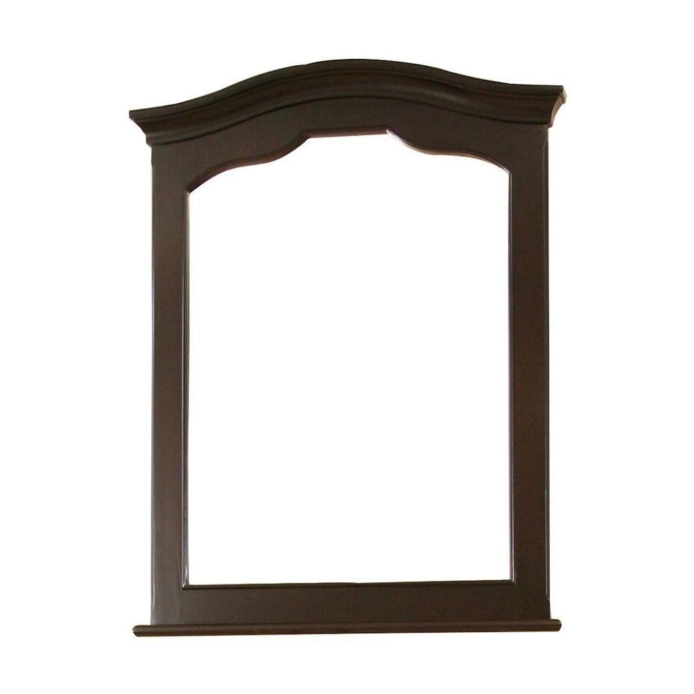 26 po x 34 po Miroir encadré de bois, avec finition d'acajou foncé