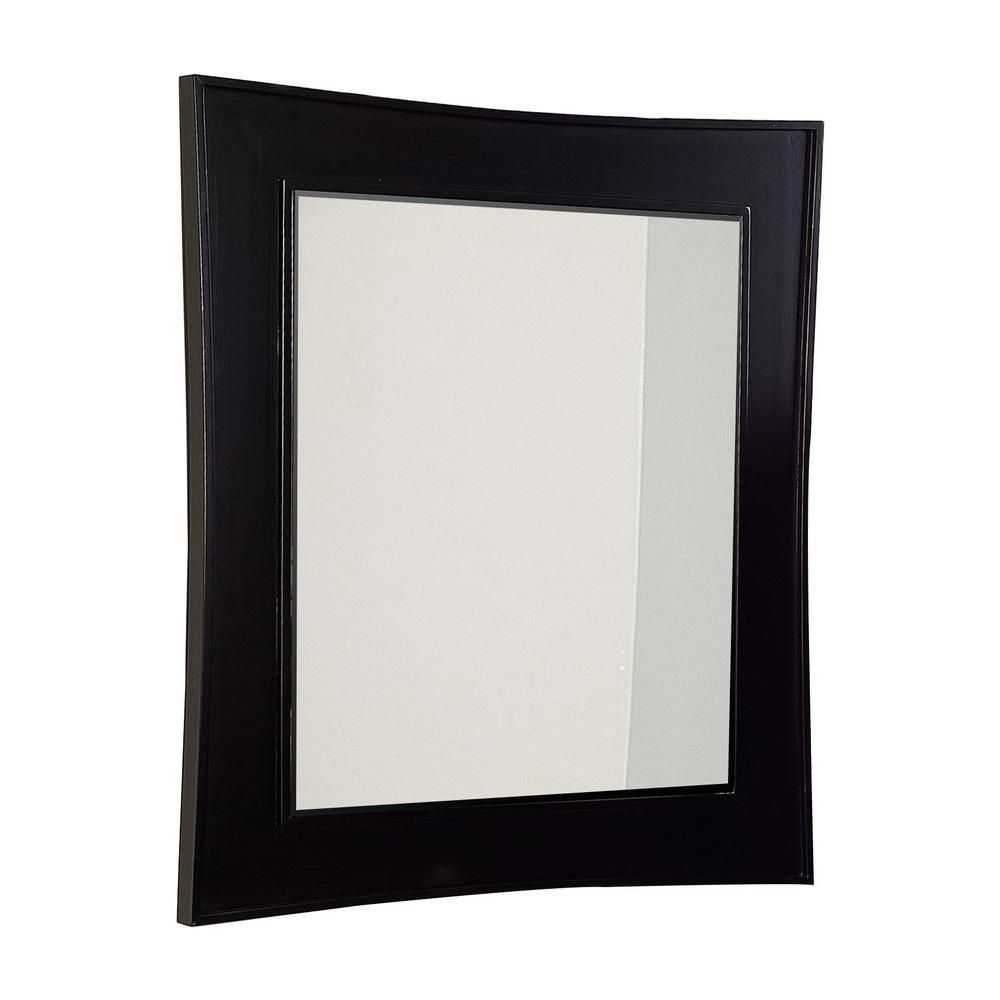 32 Inch x 36 Inch Arched-Rectangle Wood Framed Mirror in Dark Mahogany Finish