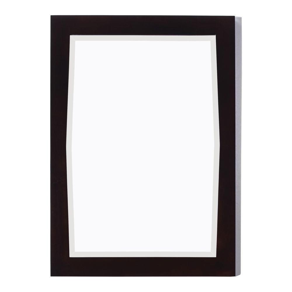 24 po x 34 po Miroir encadré de bois, rectangulaire, avec finition noyer légèrement altéré