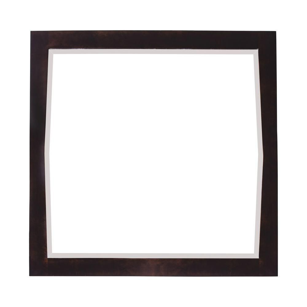 American Imaginations 34 Inch x 34 Inch Square Wood Framed Mirror in Antique Walnut Finish