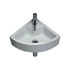 Vasque de coin en céramique blanche, installation sur Comptoir, avec orifice unique de robinet