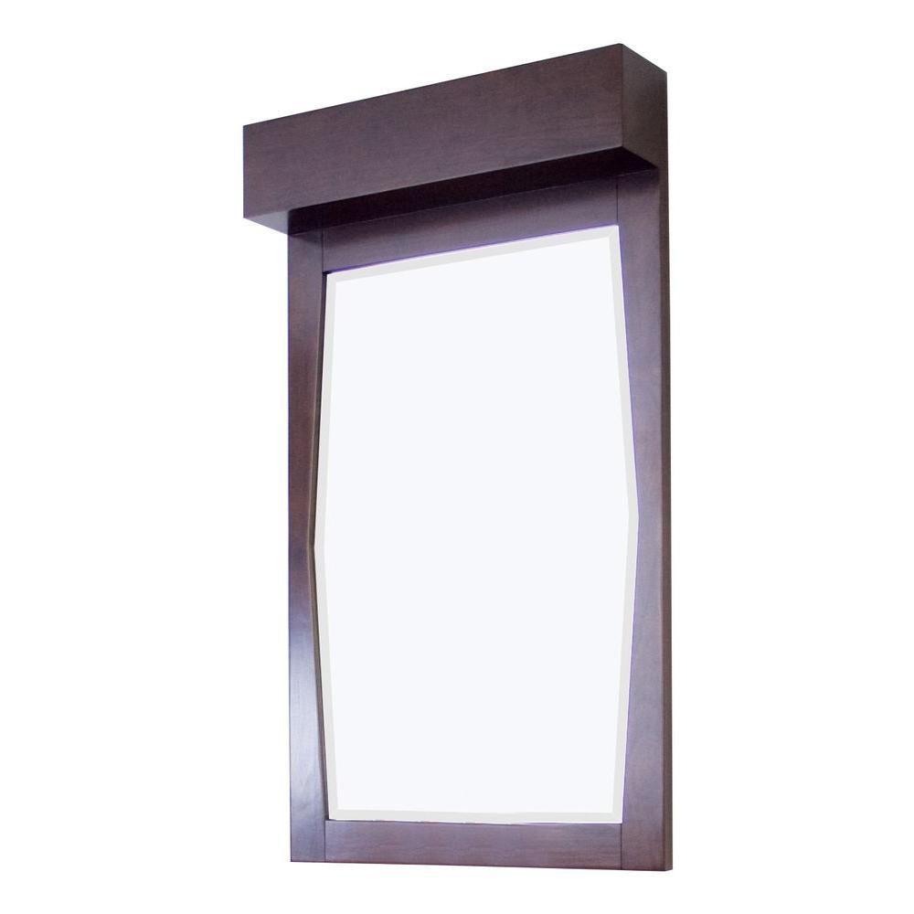 23 Inch x 36 Inch Rectangle Wood Framed Mirror in Walnut Finish