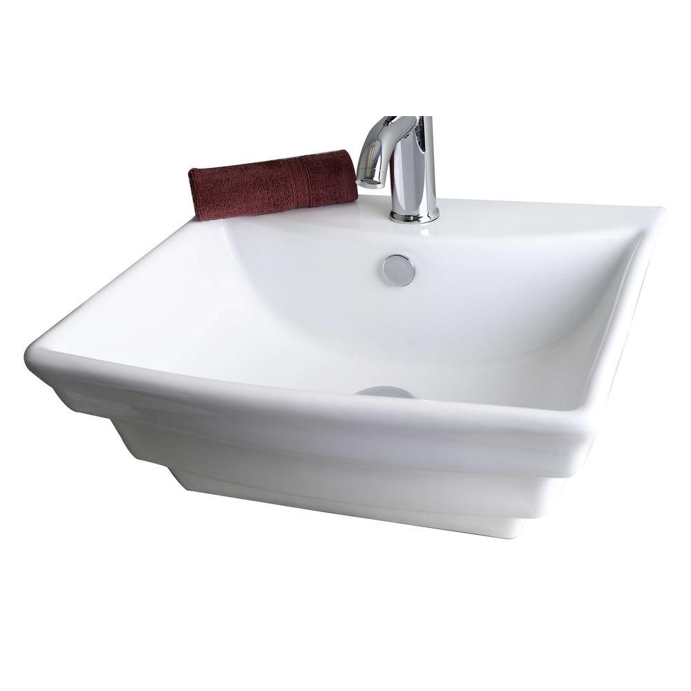 American Imaginations Square Ceramic Vessel Sink in White