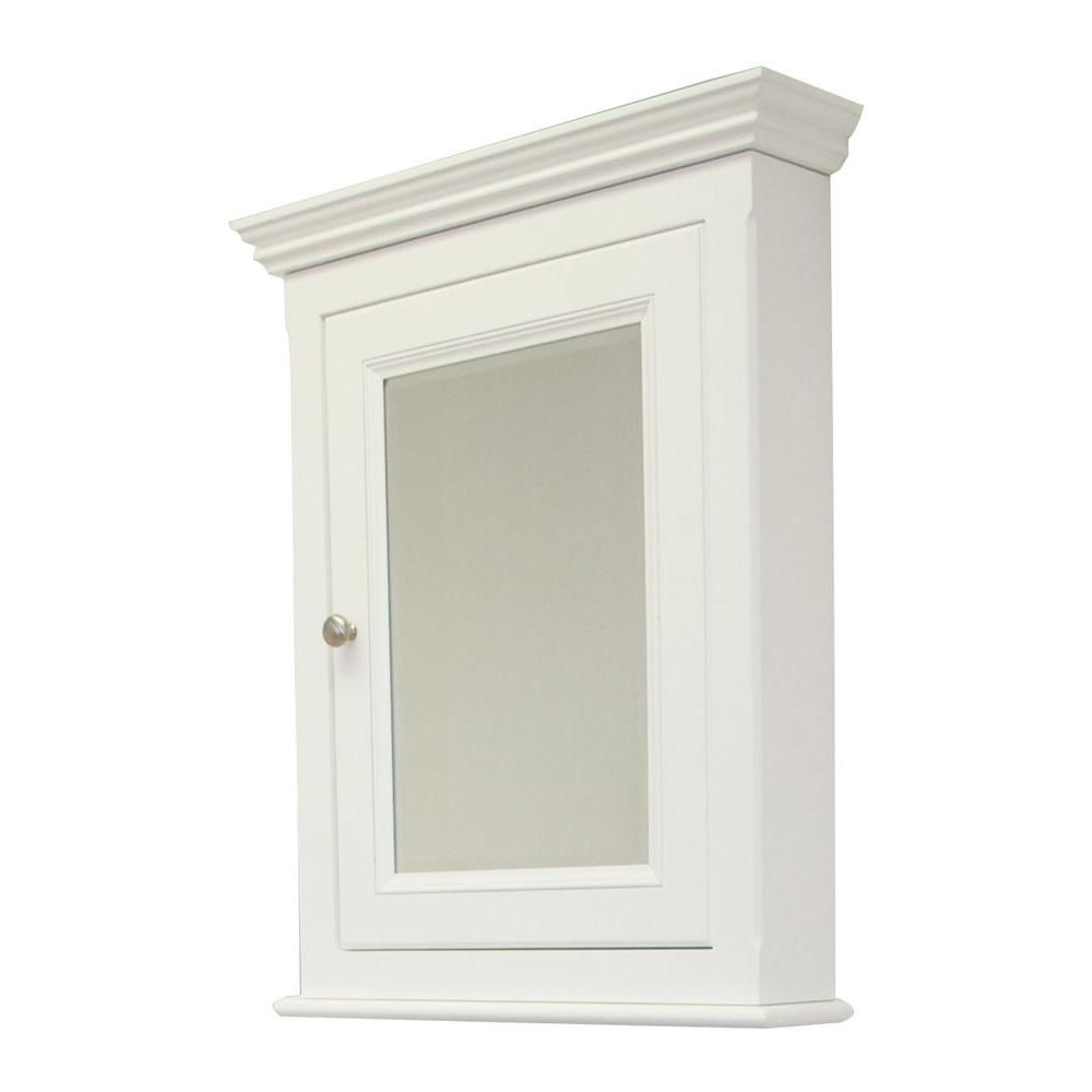 24 Inch x 30 Inch Solid Wood Framed Reversible Door Medicine Cabinet in White Finish