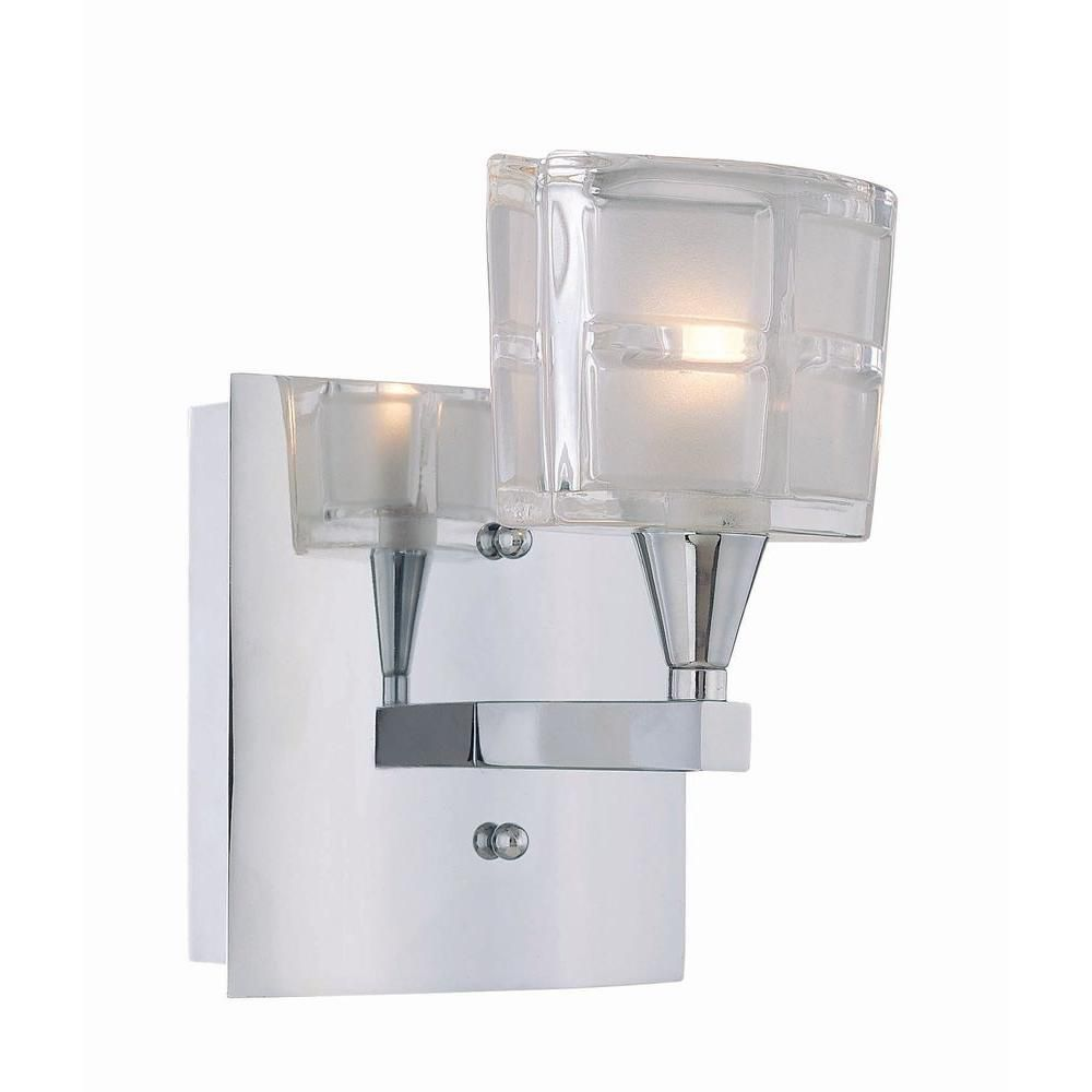 Chrome Wall Light With Glass Shade : Illumine 1 Light Wall Sconce Chrome Finish Sand Blasted Glass Shade The Home Depot Canada