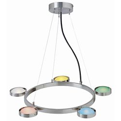 Illumine 5 Light Ceiling Lamp Steel Finish Multi Glass Shade