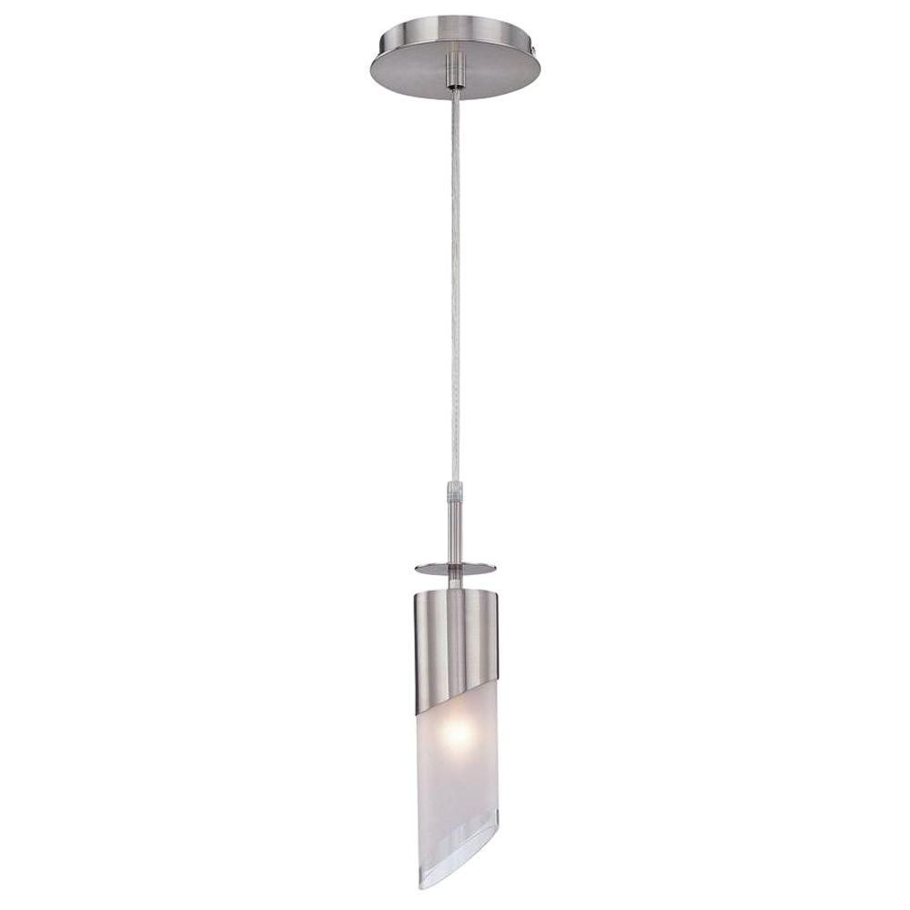 1 Light Pendant Steel Finish Frost Glass Shade