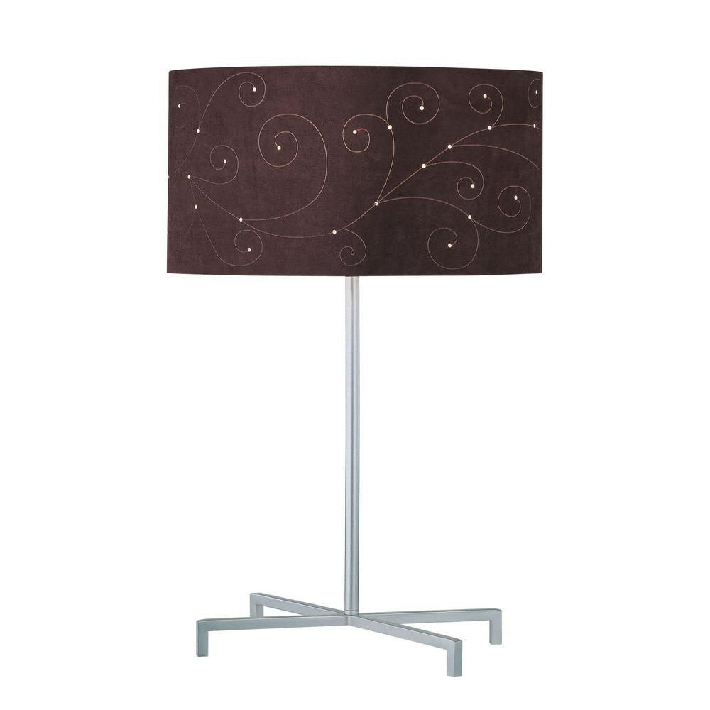 1 Light Table Lamp Silver Finish Coffee Laser Cut Suede Shade CLI-LS443391 Canada Discount