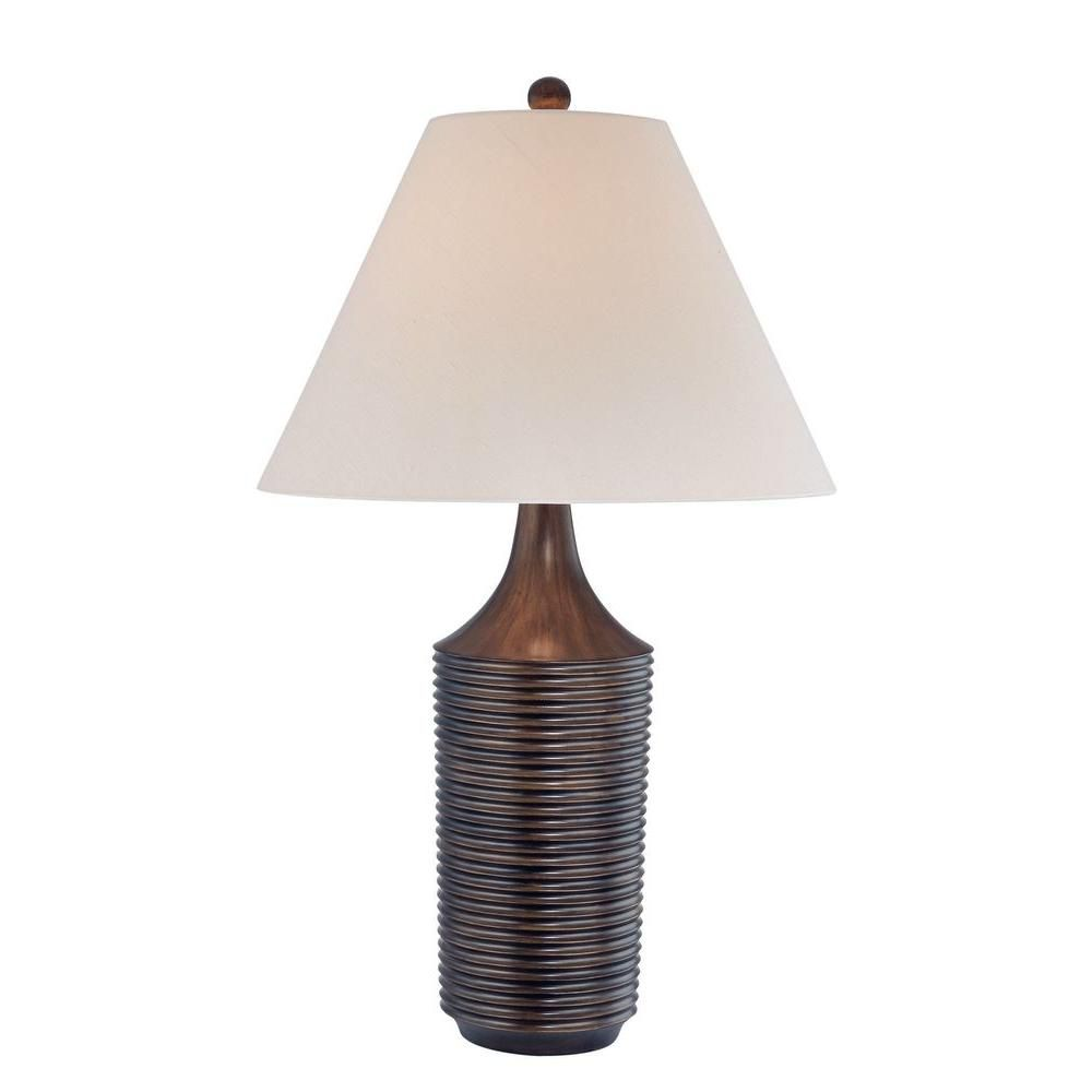 1 Light Table Lamp Bronze Finish Fabric Shade