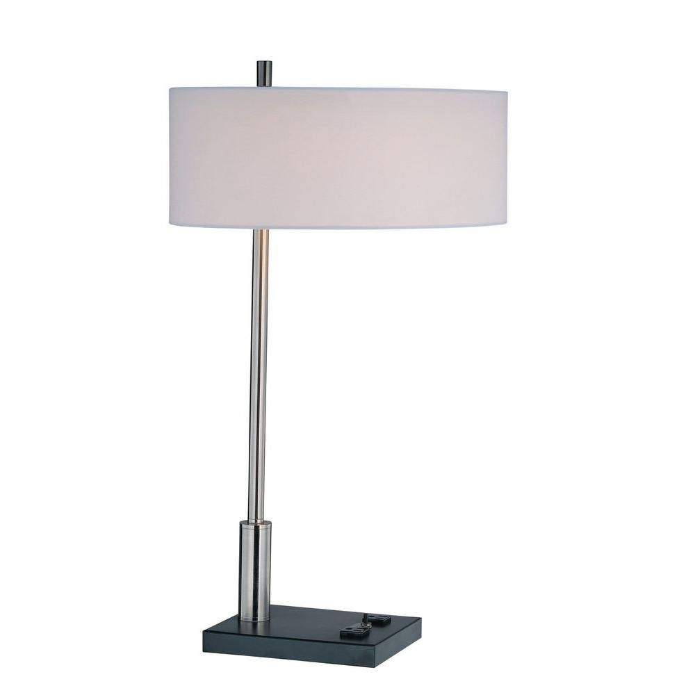 1 Light Table Lamp Steel Finish White Fabric CLI-LS443421 Canada Discount