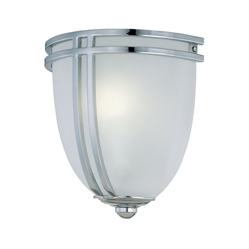 1 Light Wall Sconce Chrome Finish Frost Glass Shade