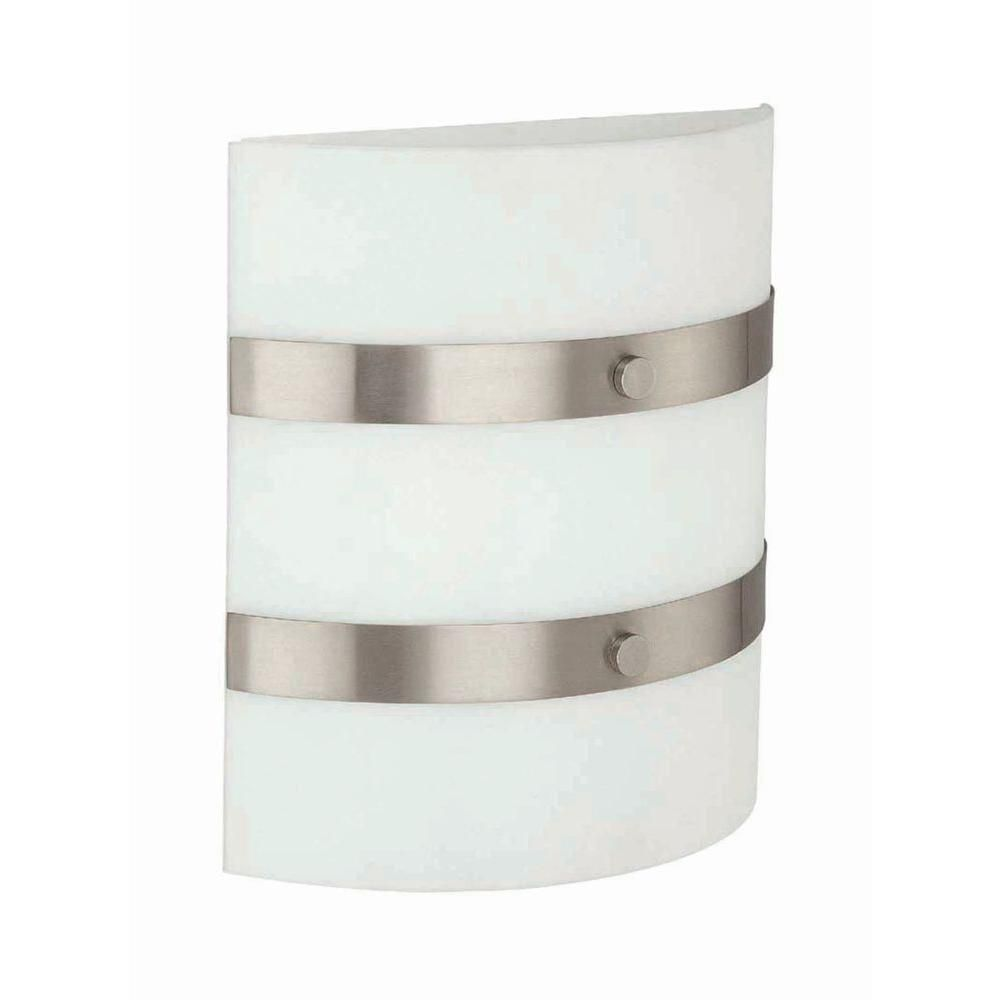 2 Light Wall Sconce Steel Finish Frost Glass Shade