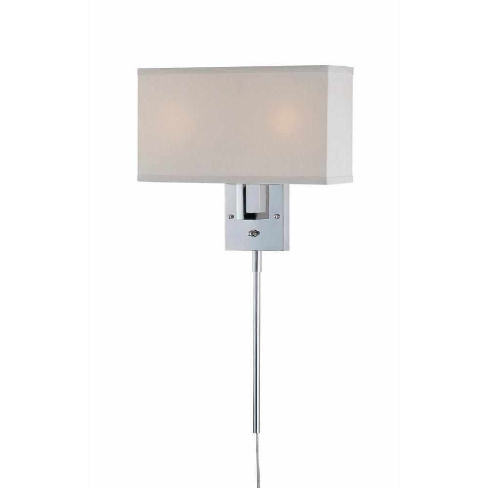 Chrome Wall Sconces With Shade : Illumine 2 Light Wall Sconce Chrome Finish White Fabric Shade The Home Depot Canada