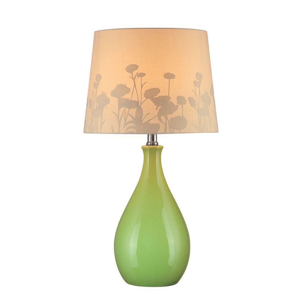Lampe à une ampoule avec abat-jour blanc, Fini vert
