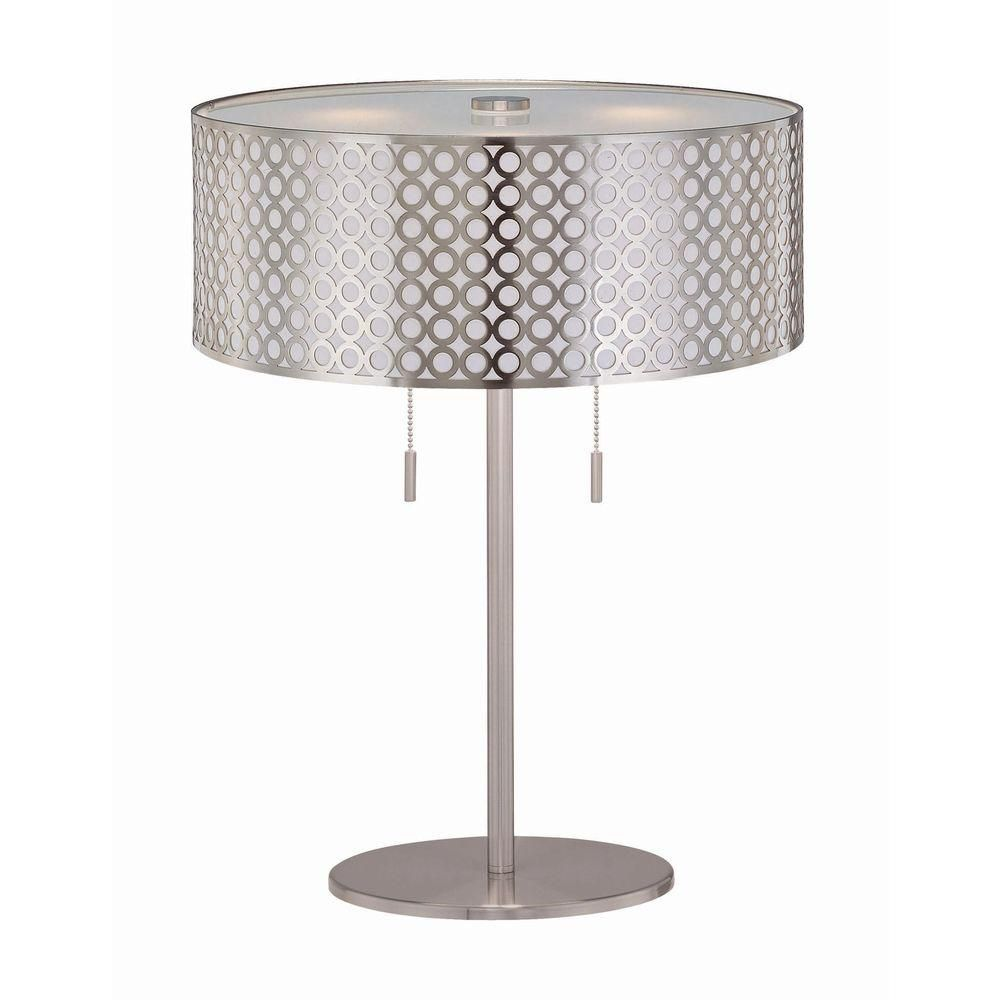 2 Light Table Lamp Steel Finish Net Metal Shade