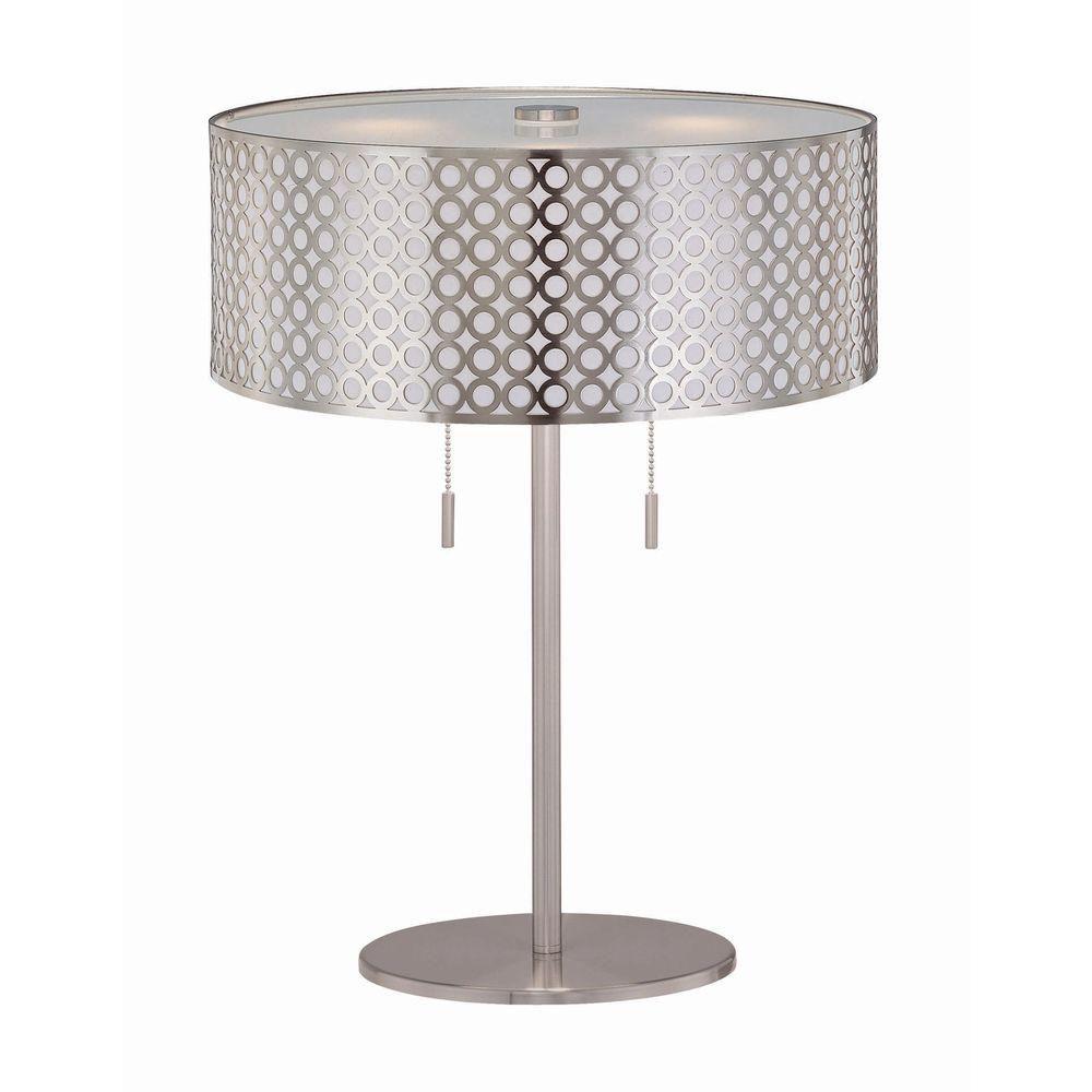 Lampe à deux ampoules avec abat-jour de spécialité, finition de spécialité
