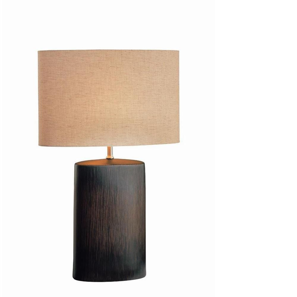 table lamp bronze finish tan fabric shade the home depot canada. Black Bedroom Furniture Sets. Home Design Ideas