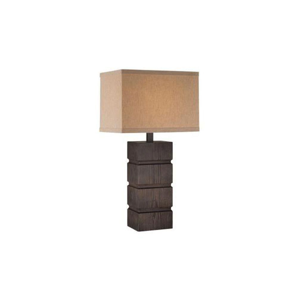 1 Light Table Lamp Walnut Finish Dark Walnut/Tan Fabric Shade CLI-LS437833 in Canada
