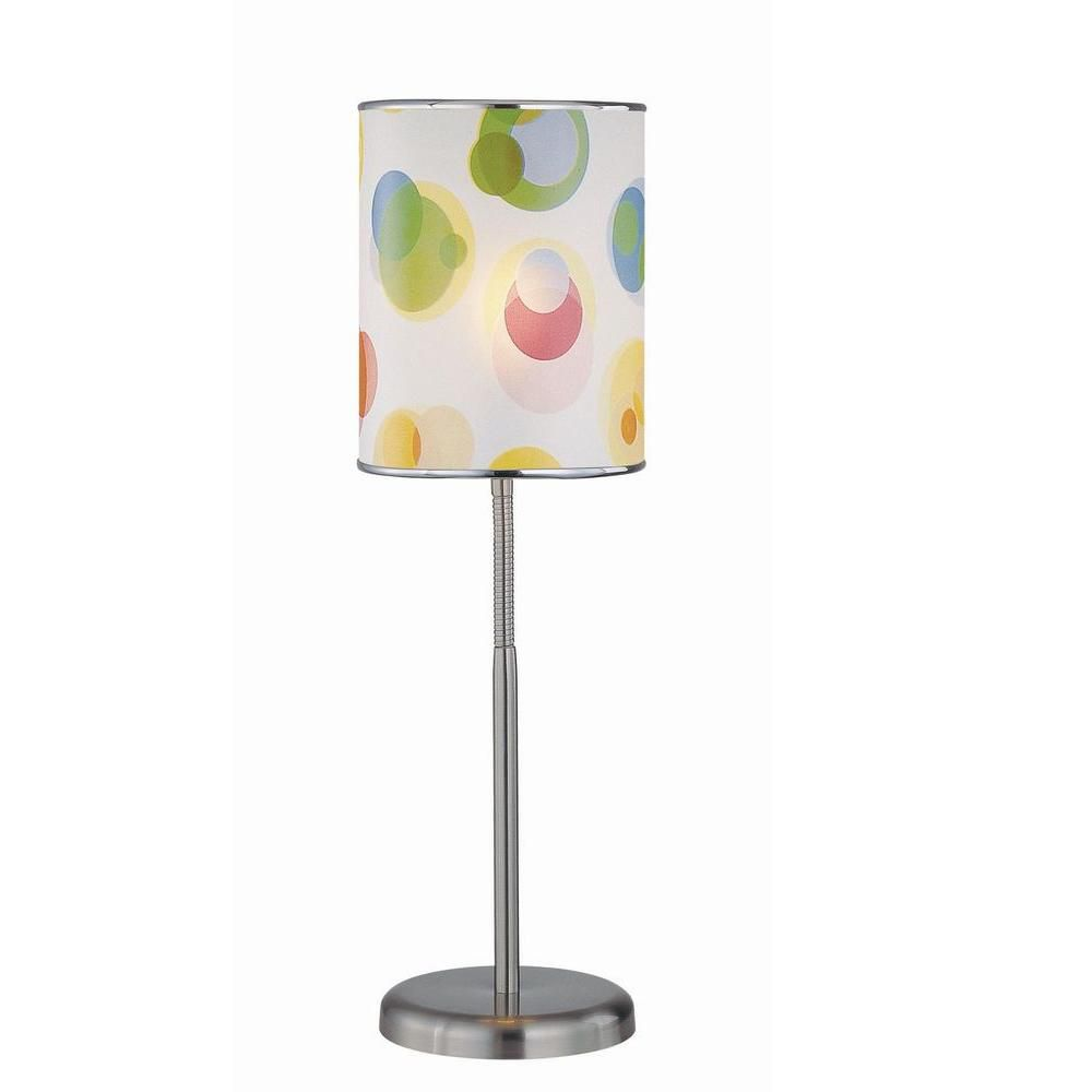 1 Light Table Lamp Steel Finish Printed PVC Shade