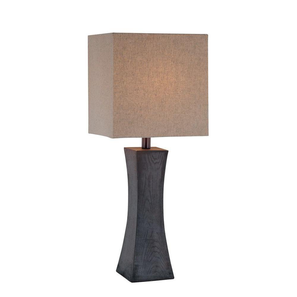1 Light Table Lamp Walnut Finish Tan Fabric Shade