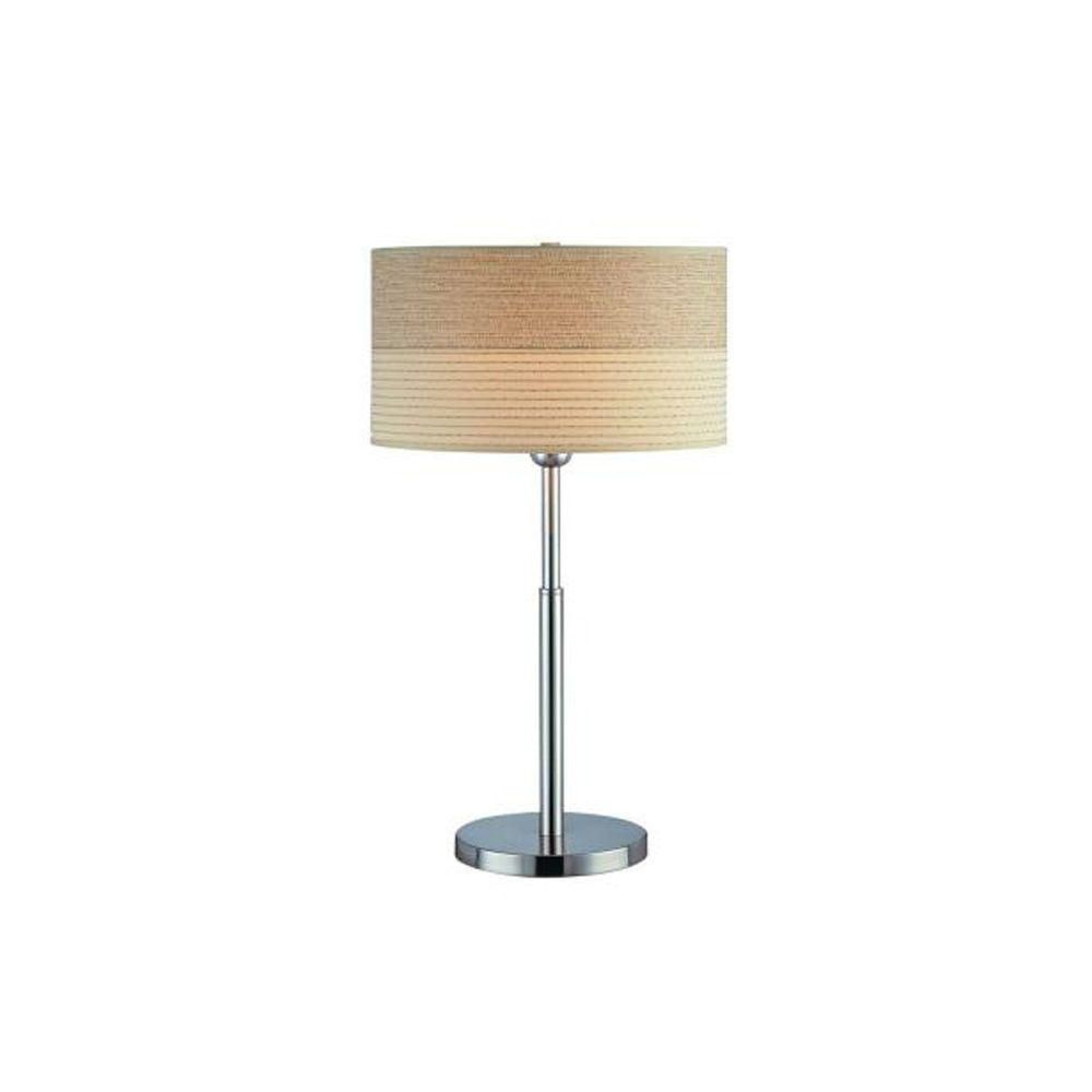 1 Light Table Lamp Steel Finish 2-Tone Off-White Shade