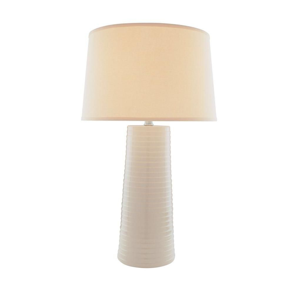 1 Light Table Lamp Ivory Finish Fabric Shade
