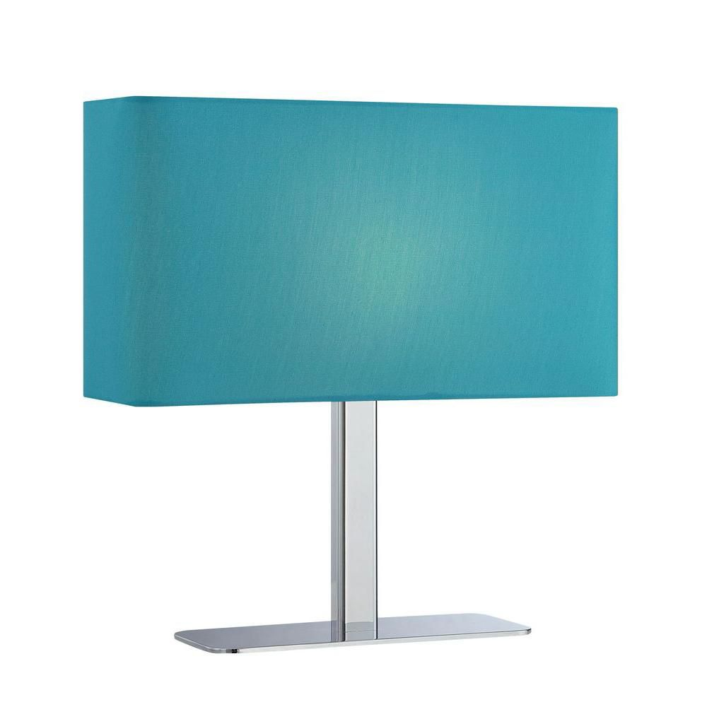 1 Light Table Lamp Chrome Finish Blue Fabric Shade