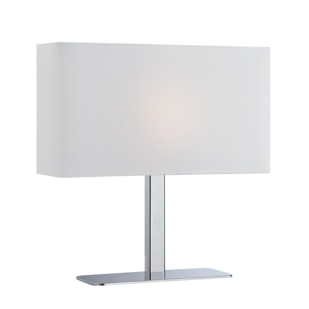 1 Light Table Lamp Chrome Finish White Fabric Shade