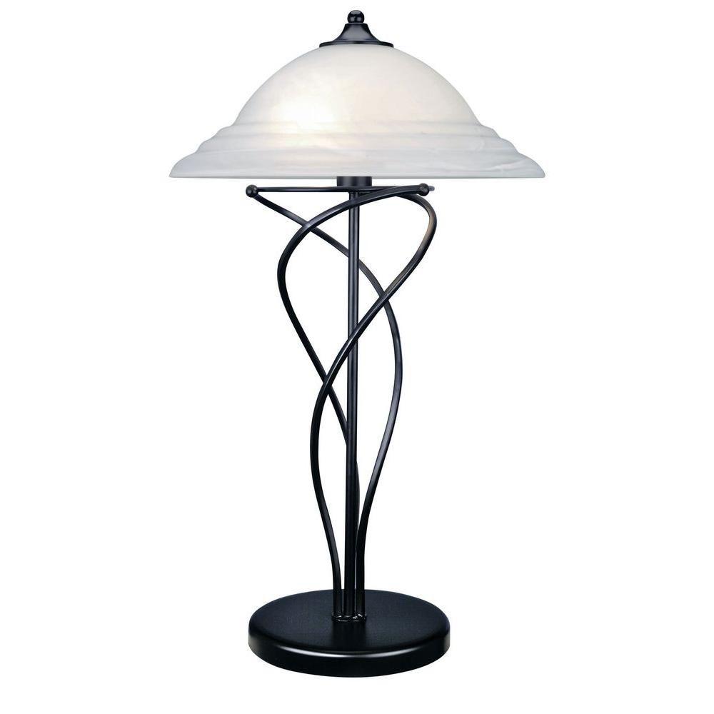 2 Light Table Lamp Black Finish Cloud Glass Shade