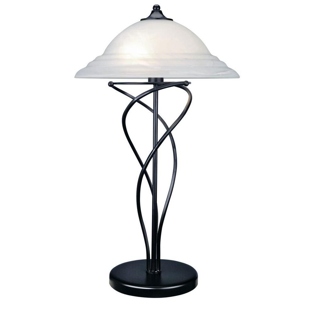 2 Light Table Lamp Black Finish Cloud Glass Shade