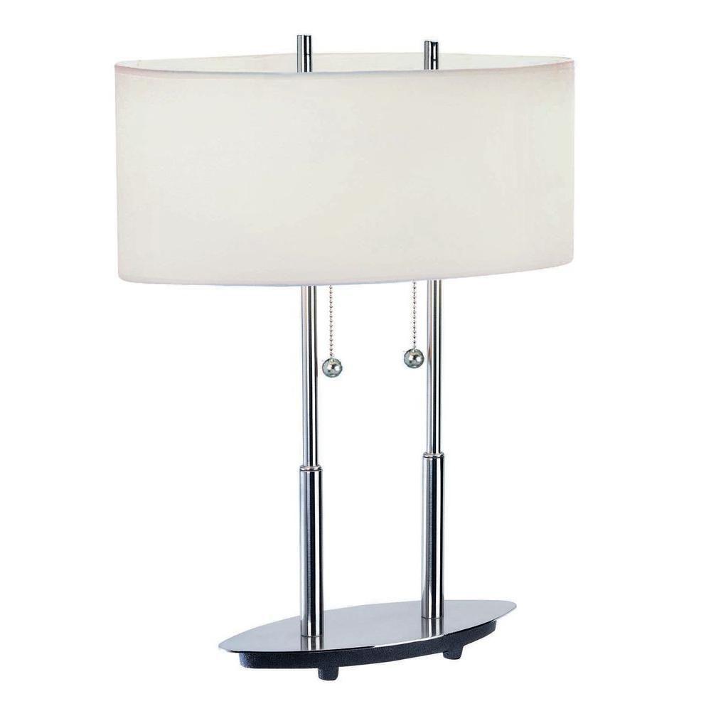 Lampe à deux ampoules avec abat-jour blanc, finition de spécialité