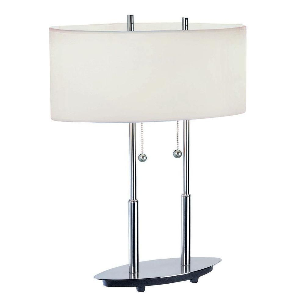 2 Light Table Lamp Steel Finish White Fabric Shade