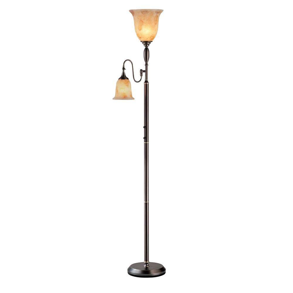 Lampe Illumine à deux ampoules avec abat-jour de spécialité, Fini bronze