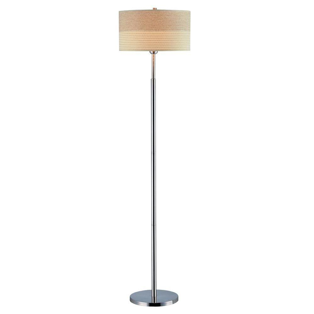 light floor lamp steel finish off white shade the home depot canada. Black Bedroom Furniture Sets. Home Design Ideas