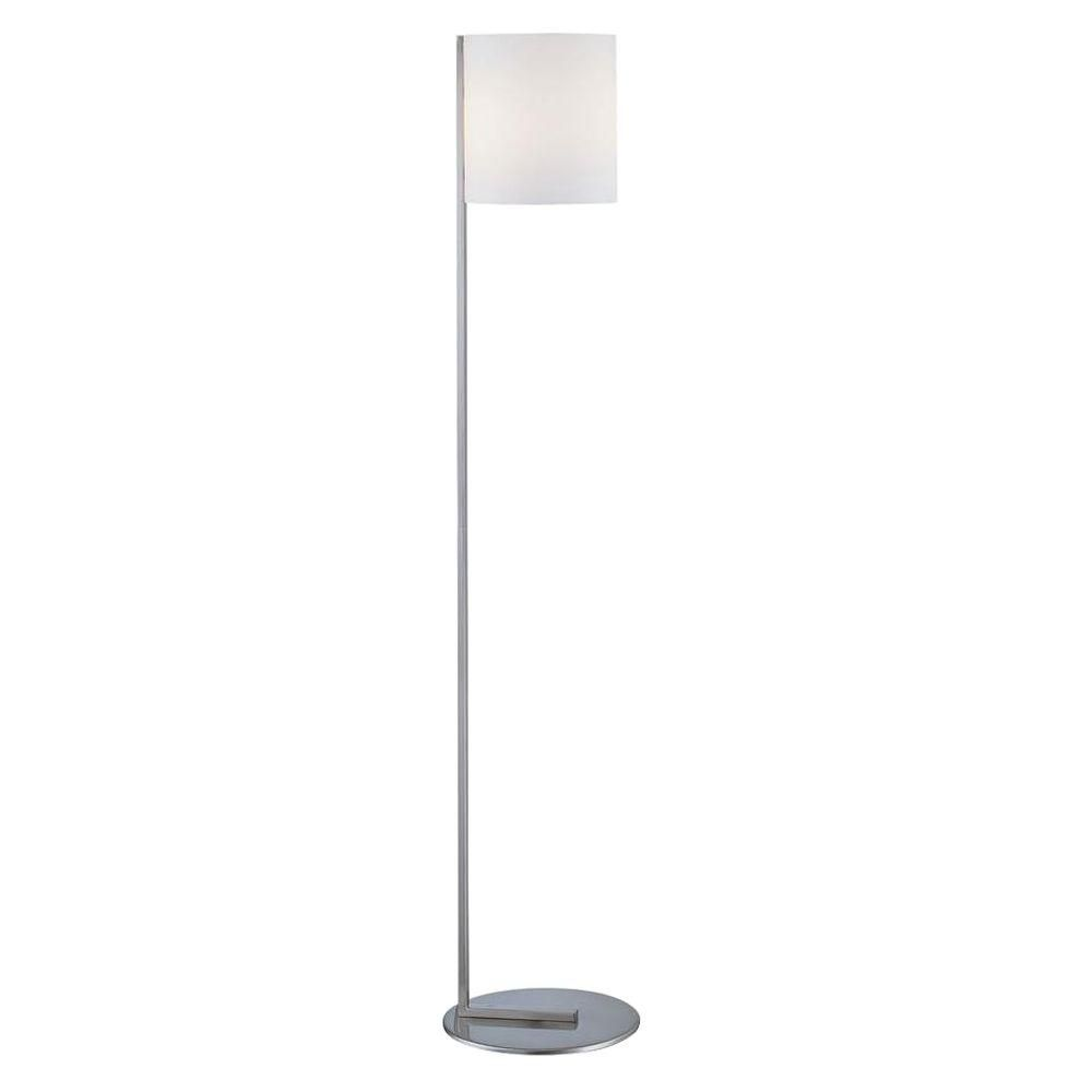 1 Light Floor Lamp Steel Finish Frost Glass Shade