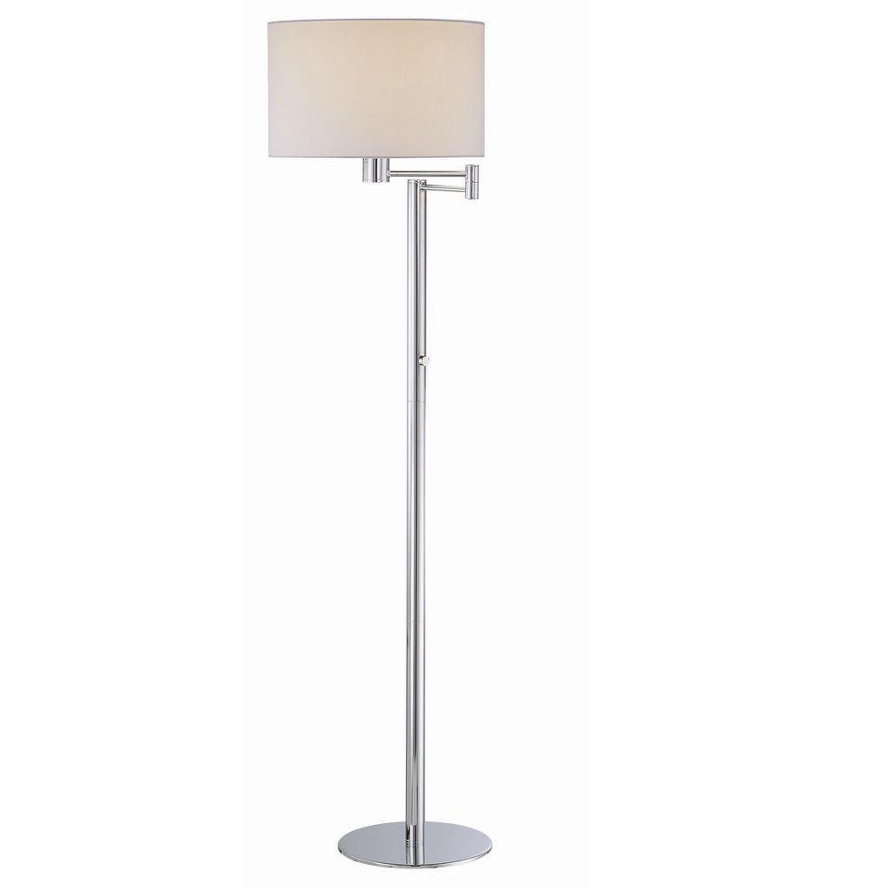 1 Light Floor Lamp White Finish White Fabric Shade