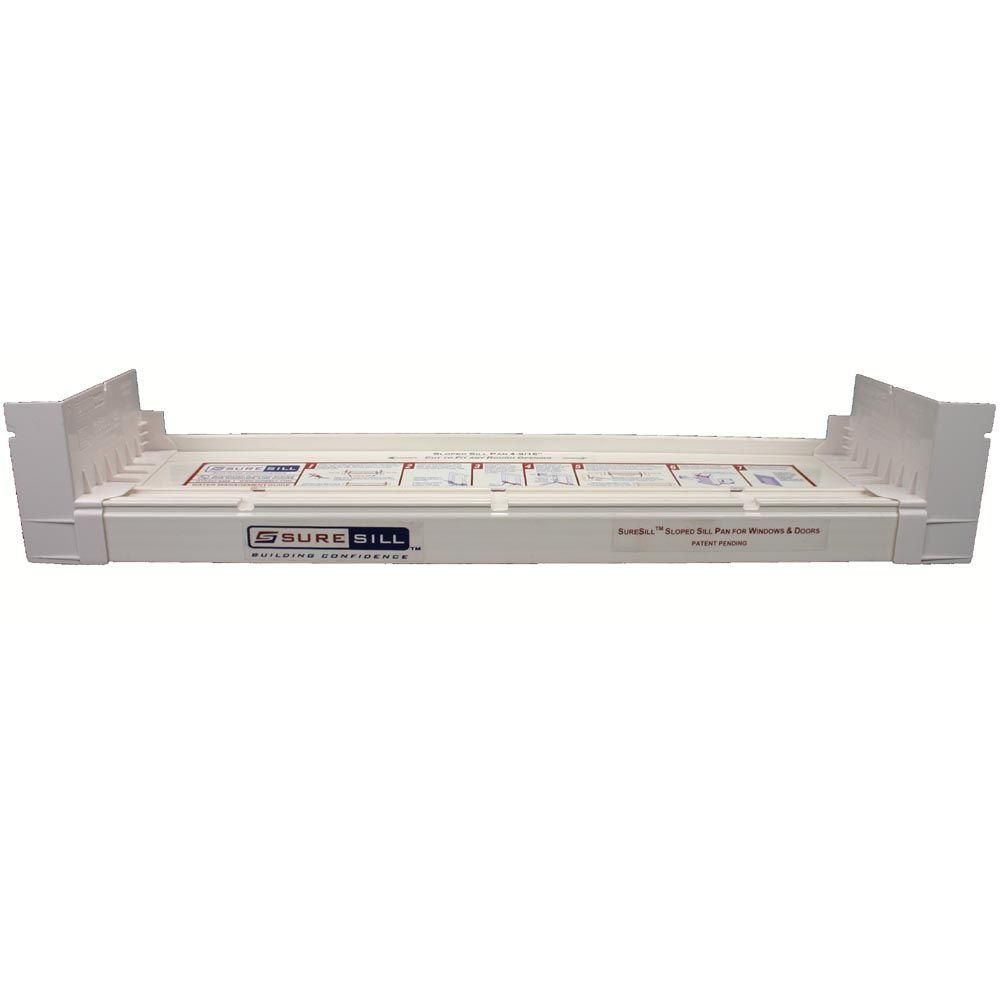 6 9/16-inch x 117-inch PVC Sloped Sill Pan for Door and Window Installation and Flashing in White
