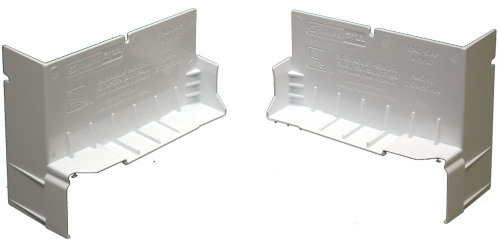 4-1/8 Inch White PVC End Caps Sloped Sill Pans (Pair)